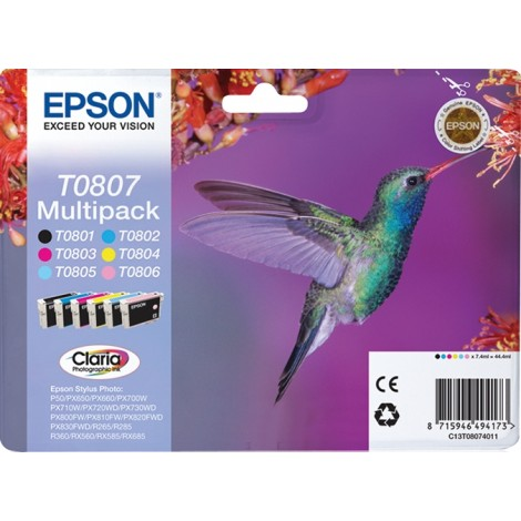Epson Hummingbird Multipack 6-colours T0807 Claria Photographic Ink