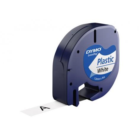Dymo D1 S0721610 91209 Plastic Tape White 12mmx4m