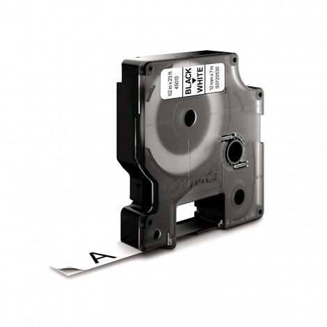 Dymo D1 S0720530 45013 Tape Black/White 12mmx7m