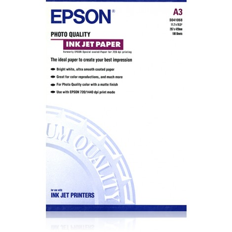 Epson S041068 A3 Photo Quality Inkjet Paper 105gr (100 vel)