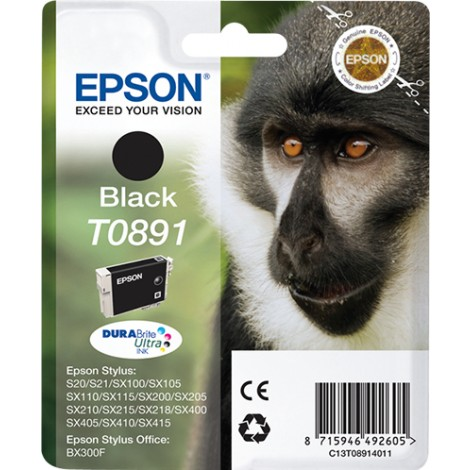 Epson Monkey Singlepack Black T0891 DURABrite Ultra Ink