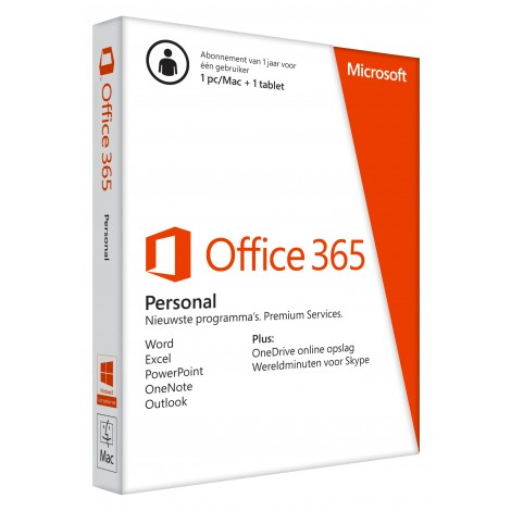 Microsoft Office 365 Personal (Abonnement voor 1 jaar, 1 pc & 1 tablet)