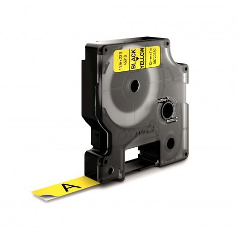 Dymo D1 S0720580 45018 Tape Yellow/White 12mmx7m