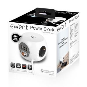 Ewent EW3953 Power Block 3-Voudig + 3x USB Wit