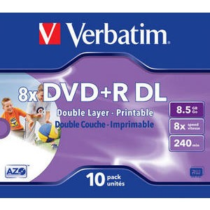 Verbatim DVD+R 8x 8.5GB Double Layer 10-Pack Printable