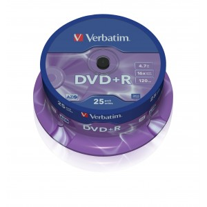 Verbatim DVD+R 16x 4.7GB Spindle 25-Pack